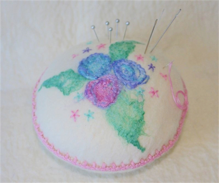 Embroidered Pincushion - hand made felt