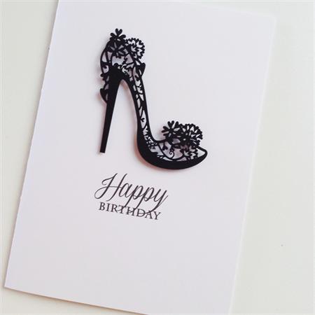 Happy birthday stylish black stiletto laser cut shoe her friend mum wife card