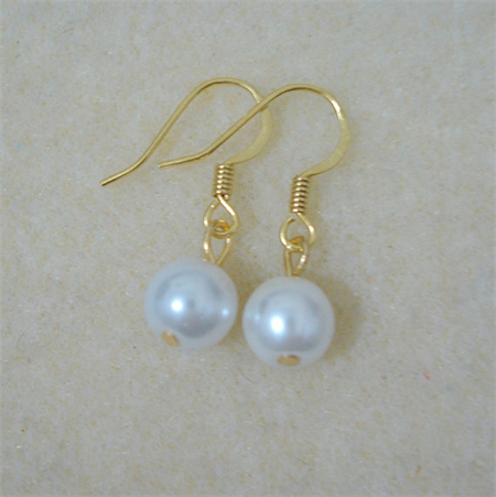 White Pearl and Gold Drop Earrings - Perfect Petite Gift