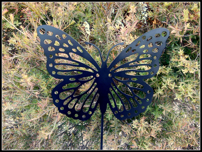 DECORATIVE METAL GARDEN ART STAKES   LASER CUT   BUTTERFLY, RUST OR PAINT  FINISH