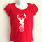 Snowflake Elk Red Girls T Shirt