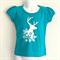 Snowflake Elk Turquoise Girls T Shirt