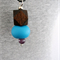 BUBBLE Necklace - Turquoise Clay + Dark Purple  + Choc Wood on Black Leather