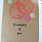Thinking of you, hand made note card, blank, OOAK