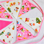 Pink Christmas mini Bunting - decoration made from Japanese Kokka Fabric