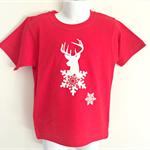 Snowflake Elk Red Boys T Shirt