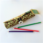 Large Olive Green Pencil Roll - holds 24 pencils, retro, school, floral, vintage