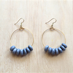 LARGE GOLD GREY POLYMER CLAY HOOP EARRINGS - FREE SHIPPING WORLDWIDE