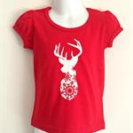 Snowflake Elk Red Girls T Shirt