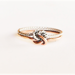 Double love knot ring, rose gold and sterling silver, double infinity