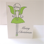 "6 x ""Christmas Fairy"" Cards Lime green FREE POSTAGE"