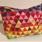 henry & stella hand sewn fully lined fabric makeup purse - geo bright lights