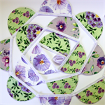 Scallop Bunting - Green & Purple Wisteria Flowers