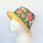 Green Flower & Spiral Reversible Bucket Hat - girls sizes 6 mths - 8 yrs, retro
