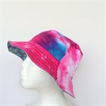 Tie Dye & Purple Flower Reversible Bucket Hat - girls sizes 6 mths - 8 yrs retro