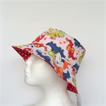 Dinosaur & Red Stars Reversible Bucket Hat - boys sizes 6 mths - 8 yrs, retro