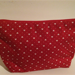 henry & stella hand sewn fully lined fabric makeup purse - little RED heart