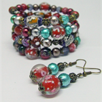 Chunky glass beaded wrap bracelet with matching earrings