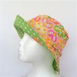 Apricot Hearts & Green Spots Reversible Bucket Hat - girls sizes 6mths - 8yrs
