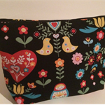 henry & stella hand sewn fully lined fabric makeup purse - spring garden