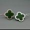 Quatrefoil Sterling Silver Irish green Earrings