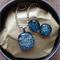 Silver Crackle Fused Glass Pendant and Earrings Set