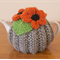 Grey 2 cup Tea Cosy with Orange Flowers
