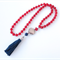 Tassel Red Jade and Red Coral long statement Necklace