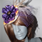 Rare Gem.Luxe designer  purple yellow satin headpiece headwear fascinator Emu