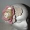 Bohemian Vintage Love. pink neutral crotchet  sculptural headpiece Bride Event
