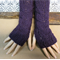 Fingerless Gloves, Purple Wrist Warmers, Cabled Arm Warmers, Womens Chunky Knit