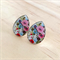 Sophie Floral Tear Drop  Silver Resin Earrings