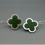 Quatrefoil Sterling Silver Irish green Earrings