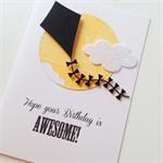 Awesome birthday black laser cut kite cloud yellow boy son grandson him card