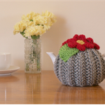 Grey 2 Cup Tea Cosy with Red Flowers