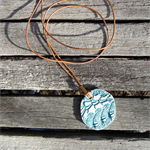 Handmade Porcelain Pendant Necklace/ Large Vintage Green Lace Design/ Great Gift