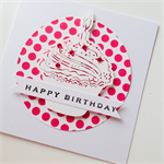 Cupcake candle pink polka dot and rhinestones birthday girl lady sister her card