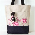 Canvas Tote Bag / Pink Screen Print / bottom portion Denim Blue / Summer bag