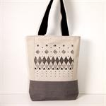 Travel Bag / Black screen print in Geometric design / Canvas tote