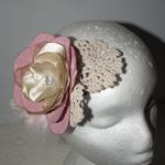 SALE Bohemian Vintage Love. pink neutral crotchet  sculptural headpiece Bride