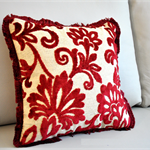 Red velvet Embroidered throw pillow floral cushion cover with Fringe