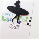 Surfer girl silhouette black blue green birthday ocean surf beach summer card