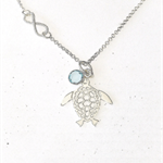 Personalised necklace, sterling turtle necklace with crystal birthstone