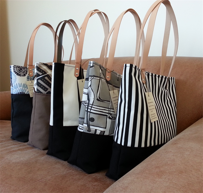 Black White Striped Canvas Tote Bag With Leather Handles Free Postage