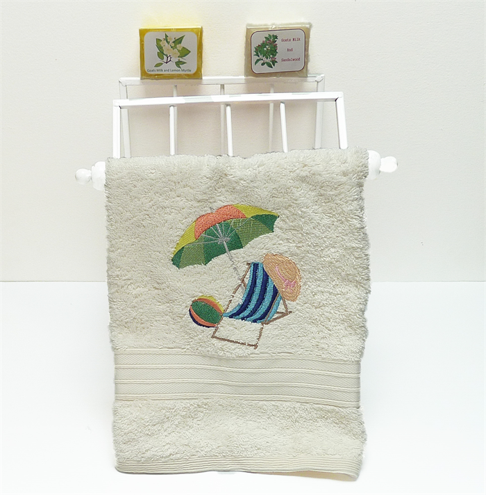 Day At The Beach Embroidered Hand Towel, Gift