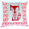 Red Fox Cushion Cover in Cherry Red and Cream