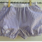 Girls mauve bloomers - seersucker ,mauve and white stripes, flowers