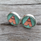 Glass dome stud earrings - Teepee