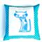 Blue Cat on Blue and Black Diamond Print  Cotton Cushion Cover