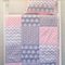 Baby Cot Patchwork Quilt w/ Pink and Grey Elephant Pattern